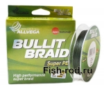Плетеная леска ALLVEGA Bullit Braid super PE 0,25mm.